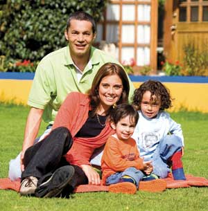 happy family on lawn