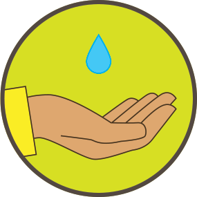 hand with water droplet