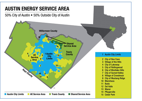 image of map showing the Austin Energy service area covers Travis County and part of Williamson County. It includes the City of Austin and 15 areas outside the City limits.