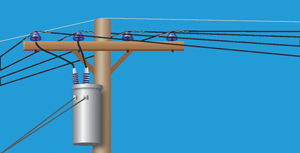 The top half of an electric pole holds powerlines and related equipment.